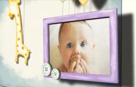 簡約清新氣球懸掛兒童紀念相冊卡通aep格式AE模板下載