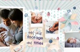 溫暖家庭版空間盒子轉動可愛寶寶相冊aep格式AE模板下載