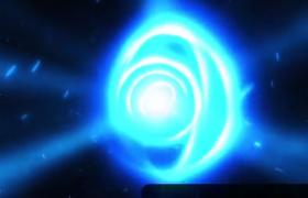 蓝色光效粒子旋转爆炸企业logo标题浮现震撼企业开场动画PR模板