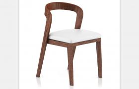 一体式深棕色圆木材质高端设计软垫座椅C4D模型(含贴图)