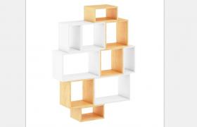 C4D创意性格口设计两种颜色混合搭配简约艺术风味客厅陈列柜模型展示