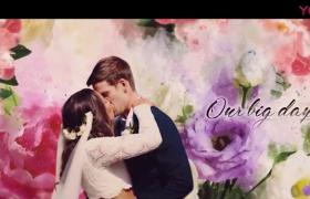 唯美浪漫水墨淡开花朵浮现西方婚礼包装视频PR模板