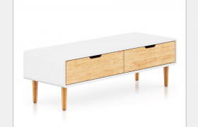 北欧风格纯白镜面材质家用电视柜家居宣传推广C4D模型展示
