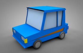 C4D卡通動畫藍色小汽車兒童玩具宣傳推廣模型(含貼圖)