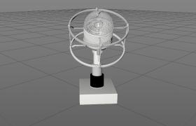 音乐广播电台器材台式扩音麦克风C4D模型展示(含保护架)