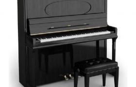 黑色高透镜面外形设计高贵典雅的直立式钢琴C4D模型