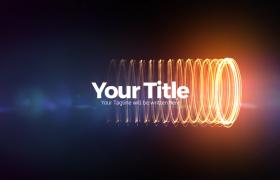 炫彩弹簧式环绕光束特效揭示主题Title文字徽标预告片开场Premiere模板