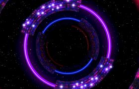 超炫空间宇宙七色圆环穿梭动感VJ舞台背景视频素材