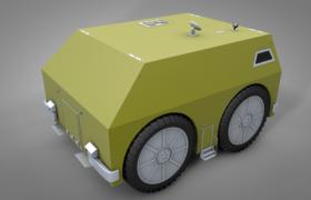 卡通无线勘测机车外星勘测设备C4D模型(含贴图)