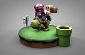 身骑绿色小恐龙的马里奥玩偶卡通游戏人物角色Cinema4d模型(含贴图)