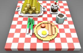 一顿丰盛的法式早餐C4D卡通像素小游戏模型(含贴图)
