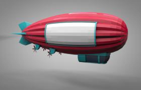 空中广告推广卡通红色大型气垫飞艇C4D模型展示(含贴图)