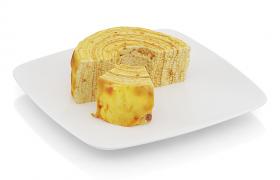 千层芝士蛋糕脆皮奶油面包卷C4D食物宣传推销模型
