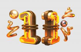 C4D文字预设:双十一金色鎏金绑定数字节日活动宣传卡通广告徽标模型展示