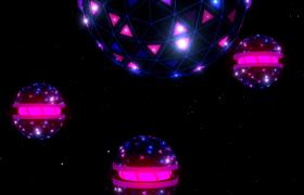梦幻粒子空间球形灯光旋转闪烁唯美舞台VJ灯光秀视频素材