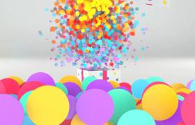 禮盒震動旋轉圓形彩片一涌而出節日慶祝edius展示模板