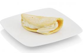 生牛奶冰淇淋奶油卷饼下午茶小食套餐美食甜品C4D模型