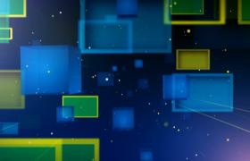 炫彩立方体粒子空间低速运动科技背景特效视频素材