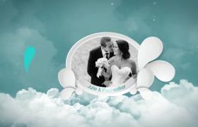 天上腾云驾雾水滴婚礼相册至高展示开场AE模板