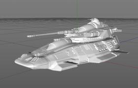 機械戰爭武器雙管式落地防空炮臺Cinema4D白模模型