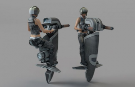 雙引擎開火模式錐形戰斗飛行裝置C4D模型(含貼圖)