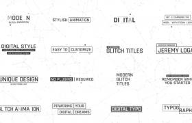 十六款毛刺效果文字標題入場出場動畫數字化特效AE工程文件