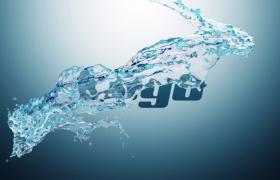 简约清爽蓝色水柱环绕特效现代时尚logo图文展示夏季促销活动Premiere模版