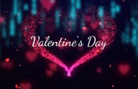 爱心玫瑰炫彩粒子浪漫表白设计唯美图文字体快速幻灯片Premiere模板