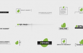 简约清新标志横排对称排版LOGO动画开场出现AE模板