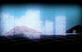网状地面起伏虚拟城市光点闪烁HD特效视频背景
