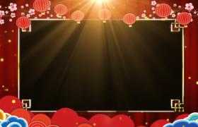 金色粒子光芒四溢祥云浮动动态循环2020鼠年拜年边框视频素材