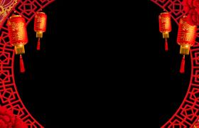 红色古风圆环菊花盛开灯笼摇曳喜庆拜年视频边框素材