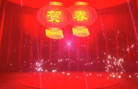 三度喜庆舞台贺春灯笼摇摆激光粒子华丽飞舞30s新年视频背景