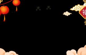 浮云穿梭粒子烟花入场MG动画透明通道新年边框动态前景视频素材