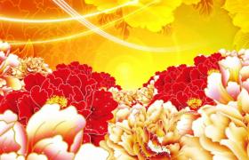 中國風歌曲舞臺背景粒子光線牡丹盛開視頻