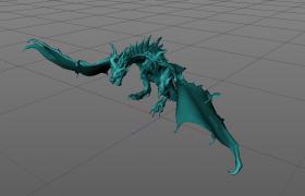 掌握水元素的龍族四大君主之一海洋與水之王C4D模型(含綁定動畫)