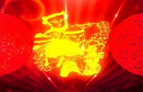 鏤金剪紙快速演變紅色窗花翻轉新年舞臺背景視頻