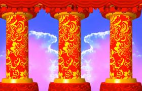 梦幻天堂背景花纹圆柱旋转新年舞台视频背景