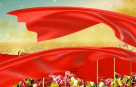 唯美河山紅旗花海紅綢飄帶黃河翻滾氣勢黨政舞臺背景視頻