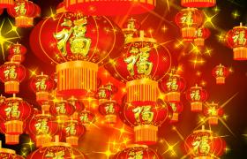 十字星闪亮刺眼吉祥福灯无限漂浮HD新年舞台背景视频