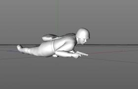 C4D持手槍匍匐前進的前蘇聯作戰士兵人物角色模型展示(含材質)