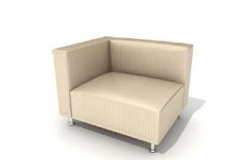雙扶米色條紋布藝設計風格單人沙發高品質家居C4D模型
