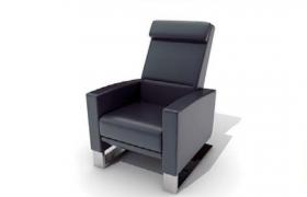 黑色商務型室內辦公可調整真皮座椅C4D模型展示(含貼圖)