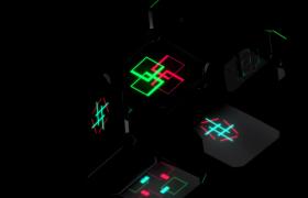 空间三维立体方块切割组合炫彩灯光闪烁变形超炫舞台VJ视频素材