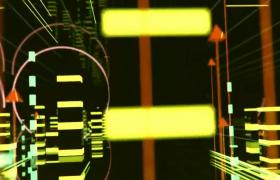 超長版蛇形圓環時針旋轉圖形躍動上升動感絢麗節奏VJ視頻素材