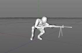 手持DP-28轻机枪静步行走的二战士兵人物角色C4D模型下载