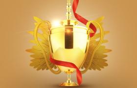 C4D工程預設:3D舞臺頒獎背景全局燈光照射奢華金色獎杯模型展示