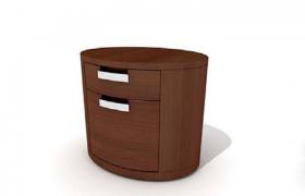 純木材質設計家庭主臥嵌入式橢圓形儲物柜C4D模型展示