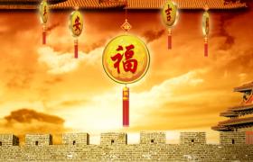 古代城墙房檐边框云彩漂浮中国结旋转30s新年祝福视频素材