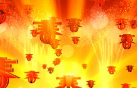 无数立体春字旋转烟花光束频频发射mov新年视频素材